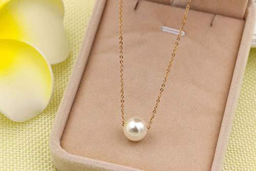 Shangwang - Collar con colgante de perla de oro de acero inoxidable, cadena femenina, color oro rosa, joyas de moda para mujer