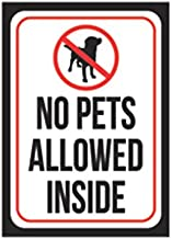 No Pets Allowed Inside Print Red White Black Poster Office Business Notice Window Sign