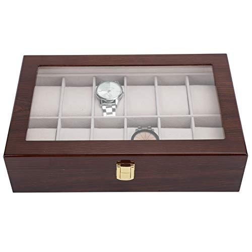 Asixxsix Caja de presentación de Reloj, Soporte de Reloj de Pulsera, Caja de Almacenamiento de Reloj de Madera con Cubierta de Vidrio de 12 Rejillas, para exhibición de Reloj de Pulsera