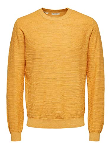 SELECTED HOMME SLHBUDDY Crew Neck W Noos Maglione, Oro (Golden Glow), XL Uomo