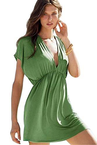 Tunica Pareo Playa Mujer Talla Grande Cuello Pico Manga Corta Casual Mini Vestido Escote V Profundo Caftan Fiesta Kaftan Etnico Kimono Dress Ropa de Baño Pareo Verano Camisola Beachwear Bikini Coverup