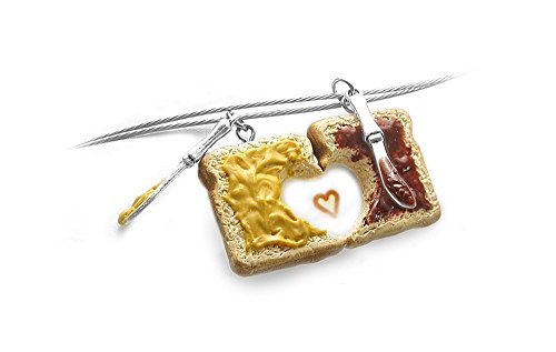 Peanut Butter & Jelly Friendship Necklaces, Set of 2, Personalized ~ Food Jewelry