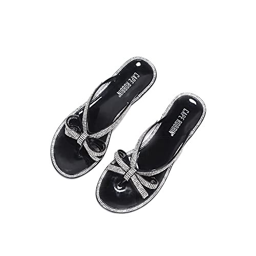 Cape Robbin Bow Wow Jelly T-Strap Flips Flops Sandals for Women  Flat Slides Womens Mules Slip On Shoes - Black Size 10