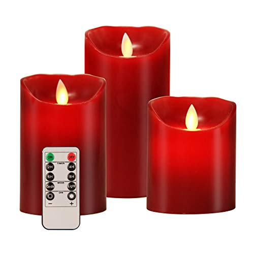 Aku Tonpa Flameless Candles Battery Operated Pillar Real Wax Electric LED Candle Gift Set with Remote Control Cycling 24 Hours Timer, 4' 5' 6' Pack of 3