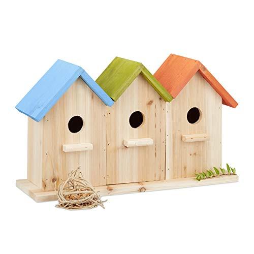 Relaxdays Vogelhäuser aus Holz, 3 Nistkästen, dekorative Nisthilfe, Balkon oder Garten, HxBxT: 23 x 40 x 12,5 cm, bunt