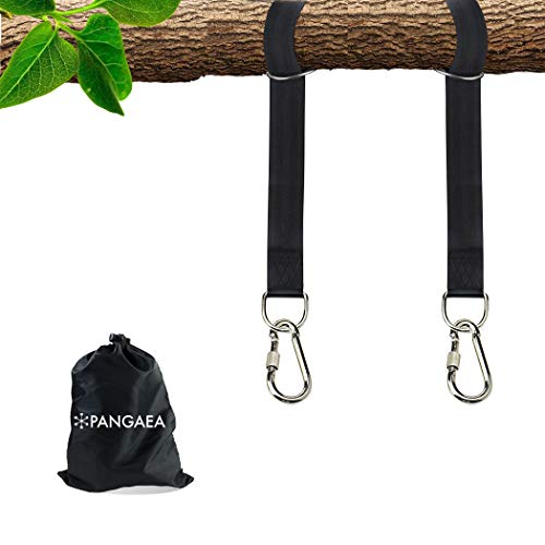 PANGAEA Tree Swing Hanging Straps Kit, Heavy Duty Holds 2200LBS Extra Long, with Safer Lock Snap Carabiners & Carry Pouch Bag (5 FT)