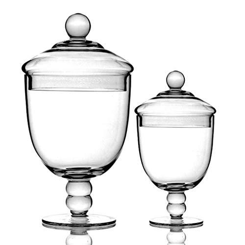 Glazen pot met hoge sokkel, snoepjes voor bruiloft, multifunctionele bewaardoos voor levensmiddelen, service jerrycan met dekselset C