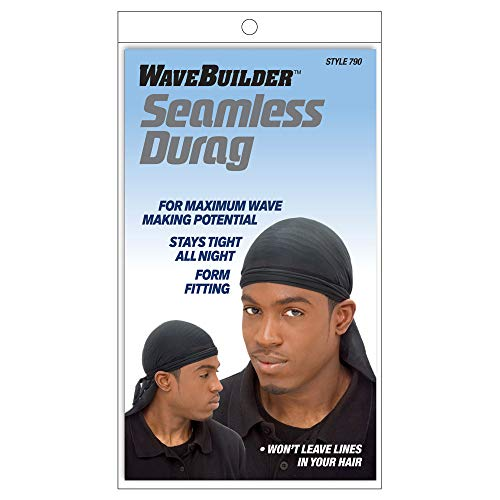 Wavebuilder Seamless Durag- Black