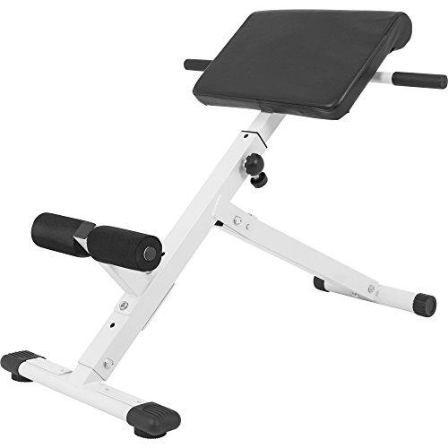 GORILLA SPORTS® Rückentrainer klappbar Hyperextension - Bauchtrainer mit gepolsterter Beinfixierung Weiß