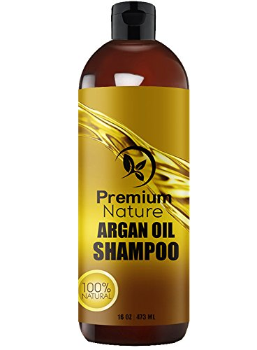 Argan Oil Daily Shampoo 16 oz, All Organic, Rejuvenates Heat Damaged Hair, Nourishes & Prevents Breakage, Sulfate Free, Vitamin Enriched Formula by Premium Nature by Premium Nature