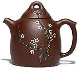 ZQADTU Tetera Hecha a Mano Tetera Oriental Tetera de Arcilla Regalos Juego de té Kung Fu Tea Ziyu Jinsha-Brown