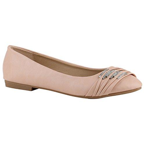 stiefelparadies Damen Ballerinas Leder-Optik Flats Slippers Übergrößen Ballerina Slip-Ons Nieten Schleifen Freizeit Schuhe 141360 Apricot 37 Flandell