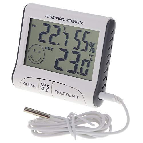 Digitales Weinkeller-Thermometer, Hygrometer mit Max Min Temperatur Funktion und 1 m Kabel