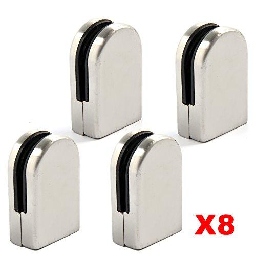 MultiWare 24 x Edelstahl Glashalter Glasklemme Anschluss Flach Klemmhalter 6 mm – 8 mm Halter (8 x Edelstahl Glashalter)