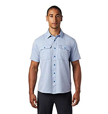 Mountain Hardwear Canyon Men's Short Sleeve Shirt for Hiking, Trekking, and Everyday - Deep Lake - XX-Large