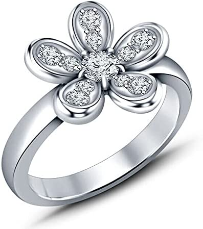 1 5 CT Round Shape White Wedding Zirconia Floral Cubic Fixed price for sale Max 47% OFF Engagem
