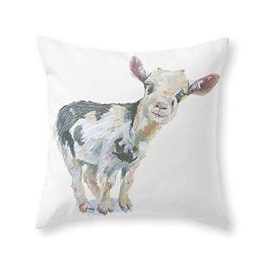 BabysSJ Smiley Goat Throw Pillow Pillowcase 18 x 18 Inches
