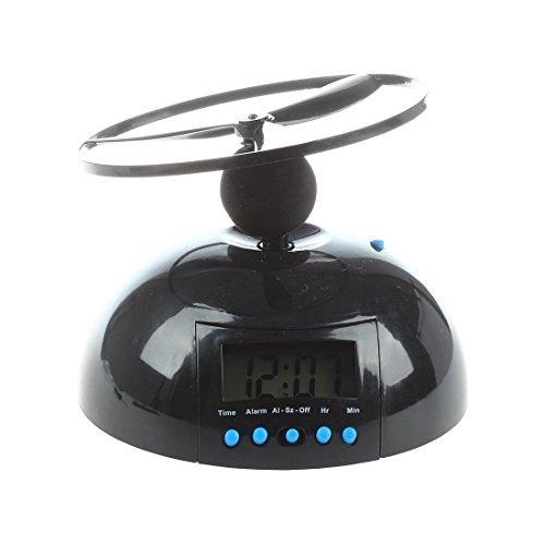 SODIAL(R) Kuppel Fliegender Wecker Hubschrauber Uhr - Schwarz