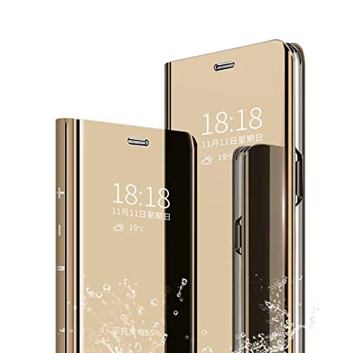 Wuzixi Hülle für LG Velvet 5G UW. Smart Hülle, Tasche Smart Spiegelüberzug Sleep Flip Leder Tasche Smart Leder Tasche Schutzhülle für LG Velvet 5G UW.Gold