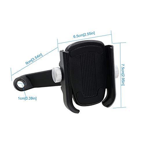 LTGJJ 360 draaibare telefoonhouder voor motorfiets, motorfiets, aluminiumlegering, mobiele telefoonhouder, GPS-houder voor motorfiets, elektrische driewieler, terreinwagen, ATV, fiets zwart