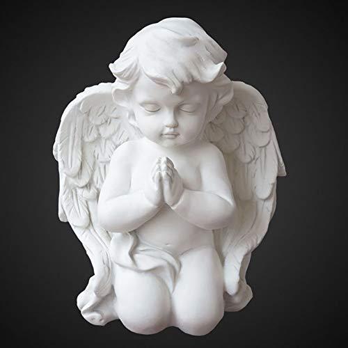 Aifeer Garten-Statue, kniend, betend, weiße Baby-Engel, Kunstharz, für drinnen und draußen, Dekoration für Zuhause, Garten, Flügel, Engelsstatue, Skulptur, Gedenkstatue, 16 cm