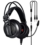 XIBERIA V10D PS4 Headset-Stereo Gaming Headset-Xbox One Headset,Noise Isolation Wired Over Ear Stereo Gamer Headphones with Microphone and Volume Contro for PC/Xbox One/PS4/Skype/Webinar(Gray/Black)