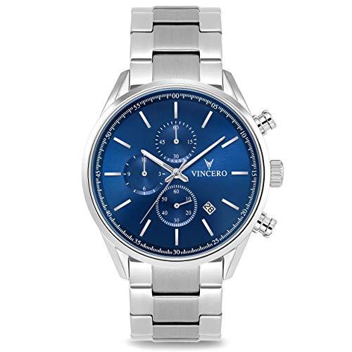 Vincero - Reloj de pulsera para hombre con cronógrafo y correa de acero inoxidable - Reloj cronógrafo de 40 mm - Movimiento de cuarzo japonés