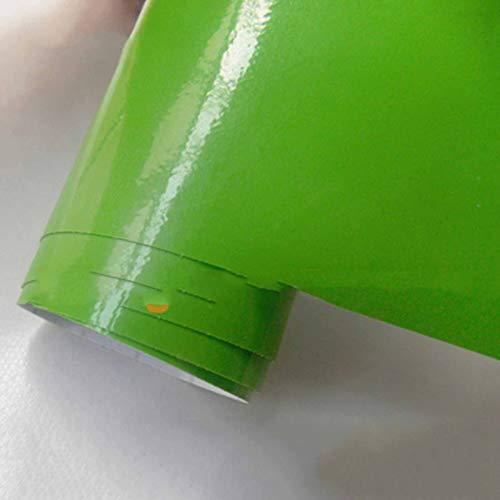 TSAUTOP Newest Helle glänzende Vinyl Auto wrap Film Schwarze wrap Blase Auto Aufkleber Auto Dekoration Film Auto wrap Vinyl (Color Name : Green, Size : 30cm x 152cm)