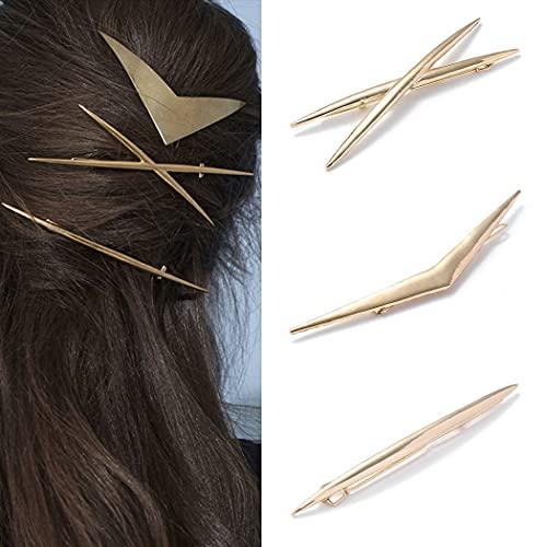 Runmi Haarklammern, goldfarben, minimalistisch, Haarspangen, Kreuz, Metall, Haar-Accessoires für Frauen und Mädchen (3 Stück)