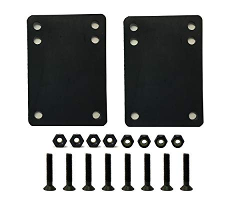 "VJ Longboard Skateboard Riser Pads 6mm (1/4"") Black w/Skateboard Screws Hardware BK 1.25""(6mm Riser w 1.25inch Screws)"