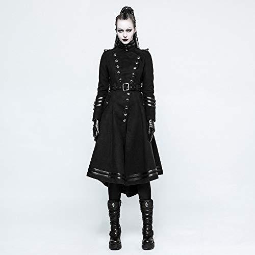 Punk Rave Damen Mantel, Militär-Stil, lang, Gothic-Stil, Retro-Stil, Stehkragen, Wintermantel Gr. XXL, Schwarz