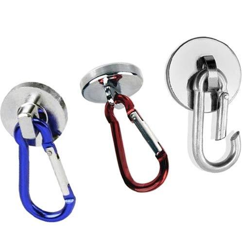 Neodym Magnet-System mit farbigen Karabiner Haken Ø 28 mm - Haftkraft 20kg - Neodym Karabinermagnet Karabiner Magnet mit Karabinerhaken Magnethaken, Farbe:rot
