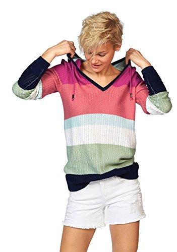 Kangaroos Damen Feinstrick Streifen Pullover Kapuze Color Blocking (Mehrfarbig, 36/38)