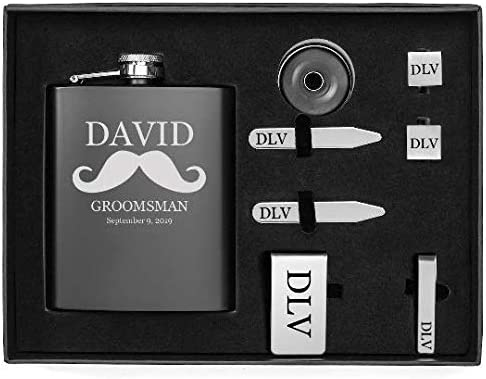 Mustache Engraved 7oz Flask, Funnel, Money Clip, Tie Bar Clip, Square Cuff Links, Collar Stays Set Gift Box Set Personalized