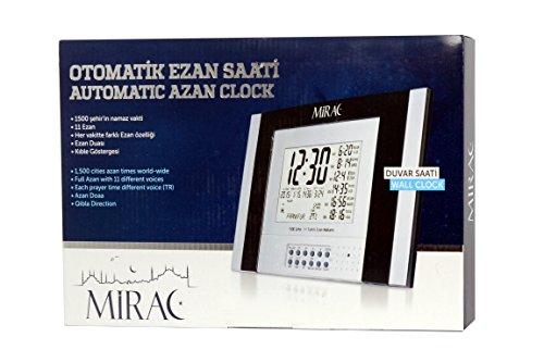 Mirac Automatische Gebetsruf Uhr mit Azan Gebet, Digitale Ezan Uhr mit 11 Akzenten und türkischem Azan mit fünf verschiedenen Modi, Azan Uhr für 1500 Städte, Azan zu 5 Gebetszeiten der Muslime