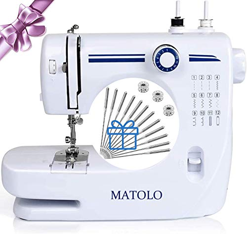Basic Sewing Machines Simple,MATOLO Adjustable Speed Control Household Sewing Machine With Foot Pedal&Floodlight For Teen,Children's,Kids,Beginners Quilt Clothes Small Handheld Sewing Machine