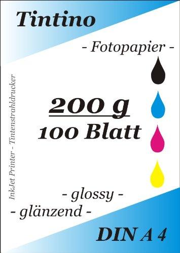 100 Blatt Fotopapier DIN A4 200g/qm high -glossy glaenzend - sofort trocken -wasserfest-hochweiß-sehr hohe Farbbrillianz fuer InkJet Drucker Tintenstrahldrucker von Tintino