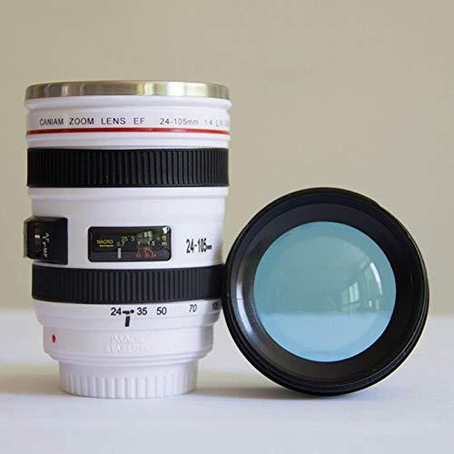 ZYJ 400 Ml Edelstahl Kameraobjektivschale, Kaffeetasse, Bierkühl Tasse, Eisbehälter, Versiegelt Und Lecksichere,Weiß