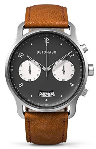 DETOMASO SORPASSO - Reloj de pulsera analógico con cronógrafo para hombre, mecanismo de cuarzo, correa de piel italiana, color marrón