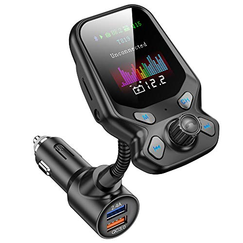 "FRUCASE Bluetooth FM Transmitters,Bluetooth Car Adapter, Car MP3 Player with 1.77"" Color Screen, Wireless Radio Adapter Hands-Free, QC3.0 and Smart 2.4A Dual USB Ports,TF Card USB AUX Port, EQ Modes"