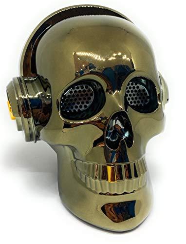 Altavoz Calavera Skull Bluetooth portatil, Tarjeta SD, Pendrive USB, Auxiliar, con Soporte para apoyar el móvil. Bluetooth Skull Speaker (Plata)