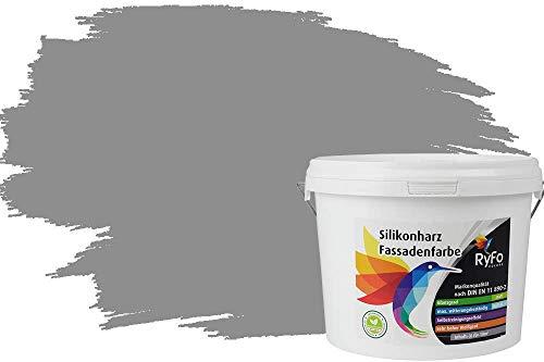 RyFo Colors Silikonharz Fassadenfarbe Lotuseffekt Trend Arktisgrau 3l - bunte Fassadenfarbe, weitere Grau Farbtöne und Größen erhältlich, Deckkraft Klasse 1
