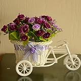 Diseño de flores artificiales sala de estar/en forma de cubo para adornos de rosas cesta para bicicleta (morado)