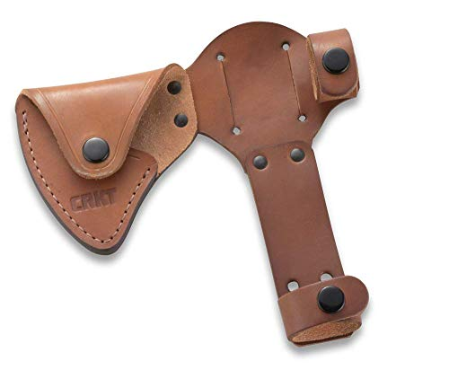 CRKT Woods Chogan Tomahawk Sheath: Full Grained Leather, Multiple Snaps, Belt Loops for Secure Carry of T-Hawk, for Use 2730 D2730