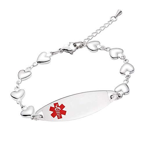 Linnalove - Pulsera de alerta médica para mujer, ajustable, diseño de corazones, 17,78 - 20,32 cm 20 cm