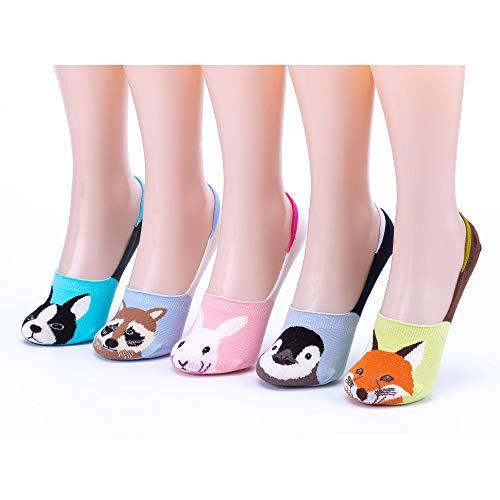 Women Novelty Cute Funny No Show Low Cut Non Slip Socks (Five Animals)