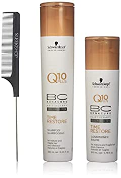 Schwarzkopf BC Bonacure Q10 Plus TIME RESTORE Shampoo & Conditioner for MATURE AND FRAGILE HAIR Duo SET  with Sleek Steel Pin Tail Comb   8.5 oz/6.8 oz - DUO KIT