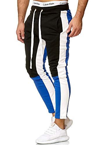 OneRedox Herren | Jogginghose | Trainingshose | Sport Fitness | Gym | Training | Slim Fit | Sweatpants Streifen | Jogging-Hose | Stripe Pants | Modell A10 (M, Blau)