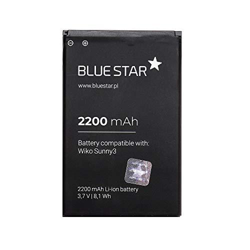 Blue Star Premium - Batterie Li-Ion 2200 mAh de capacité de charge rapide 2.0 compatible avec le Wiko Sunny 3