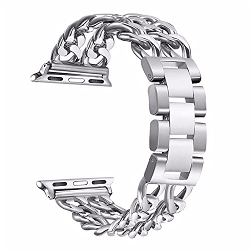 TRSX Reloj Correa Banda de Acero Inoxidable 6 SE 5 4 3 2 Banda 40mm 44mm Strap Pulsera Serie de la Banda de Metal 6 5 4 3 38mm 42mm (Band Color : Silver, Band Width : 42mm and 44mm)